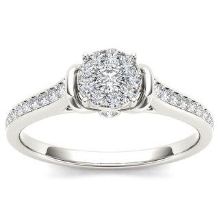De Couer 10k White Gold 1/3ct TDW Diamond Cluster Engagement Ring (H-I, I2)