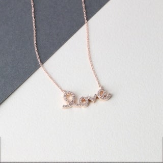 "De Couer 10k Gold 1/6ct TDW Diamond ""love"" Necklace (H-I, I2)"