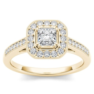 De Couer 14k Yellow Gold 1/2ct TDW Diamond Vintage Halo Engagement Ring (H-I, I2)