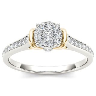 De Couer 10k Two-Tone White Gold 1/3ct TDW Diamond Cluster Engagement Ring (H-I, I2)