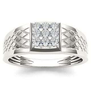 De Couer 10k White Gold 1/3ct TDW Diamond Men's Cluster Ring (H-I, I2)