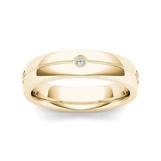 De Couer 14k Yellow Gold 1/8ct TDW Diamond Men's Wedding Band (H-I, I2)