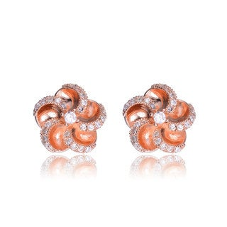 Collette Z Rose-plated Stering Silver Cubic Zirconia Flower Shape Earrings