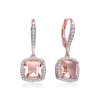 Collette Z Rose-plated Sterling Silver Morganite Cubic Zirconia Square Drop Earrings