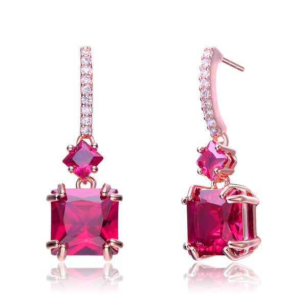 Collette Z Rose-plated Sterling Silver Red and White Cubic Zirconia Square Drop Earrings