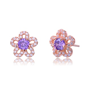 Collette Z Rose-plated Sterling Silver Purple and White Cubic Zirconia Flower Earrings