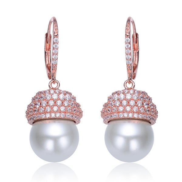 Collette Z Sterling Silver Rose-plated Simulated Pearl Drop Earrings