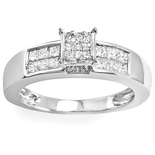 14k White Gold 1/2ct Princess Diamond Ring (H-I, I1-I2)