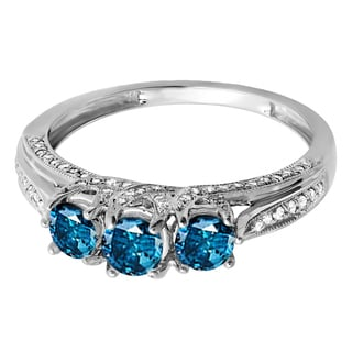 14k White Gold 1ct TDW Blue and White 3-Stone Diamond Ring (H-I, I1-I2)