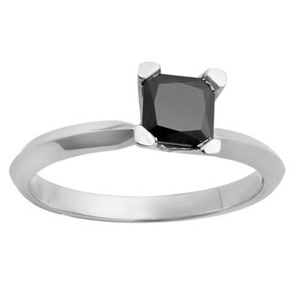 14k White Gold 1ct Princess-cut Black Diamond Solitaire Engagement Ring