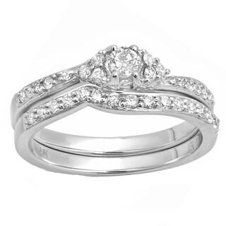 14k White Gold 3/5ct Round-cut Diamond Bridal Ring Set (H-I, I1-I2)