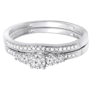14k White Gold 1/2ct Diamond 5-stone Bridal Ring Set (H-I, I1-I2)