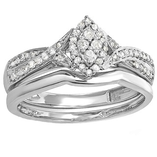 Sterling Silver 1/3ct TDW Marquise-shape Diamond Bridal Ring Set (I-J, I2-I3)