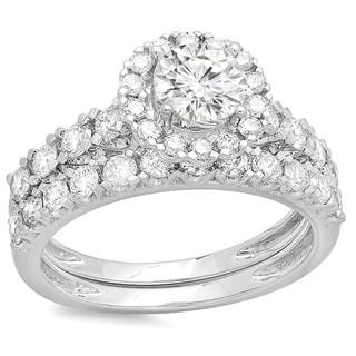 14k White Gold 2ct TDW Round Diamond Halo Bridal Ring Set (H-I, I1-I2)