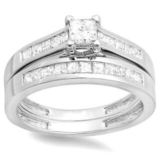 14k White Gold 1ct TDW Princess Diamond Bridal Ring Set (H-I, I1-I2)