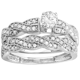 14k White Gold 1ct TDW Round Diamond Bridal Ring Set (H-I, I1-I2)