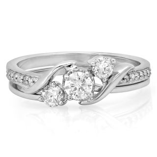 10k White Gold 1/2ct TDW Round Diamond Swirl 3-stone Bridal Ring Set (I-J, I1-I2)