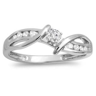 10k White Gold 1/4ct TDW Diamond Crossover Promise Ring (H-I, I1-I2)