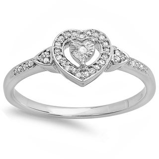 Sterling Silver 1/6ct Diamond Heart-shaped Promise Ring (I-J, I2-I3)