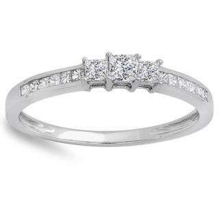 10k White Gold 1/2ct TDW Princess-cut Diamond Promise Ring (H-I, I1-I2)