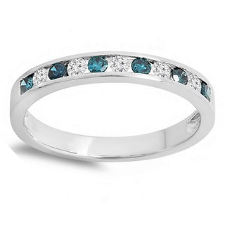 10k White, Yellow, or Rose Gold 1/2ct TDW Blue and White Alternating Diamond Ring (H-I , I1-I2)