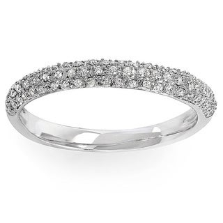 10k White Gold 1/4ct TDW Pave Diamond Anniversary Wedding Band (I-J, I2-I3)