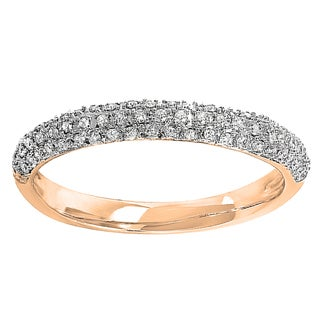 14k White Gold 1/4ct TDW Round Pave Diamond Anniversary Band (I-J, I2-I3)