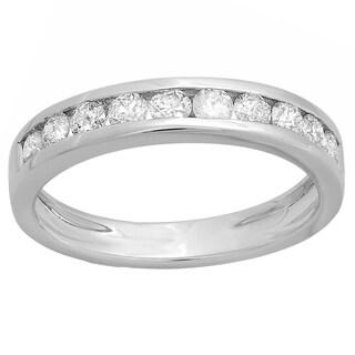 14k White Gold 3/5ct TDW Diamond Stackable Wedding Band (H-I, I1-I2)