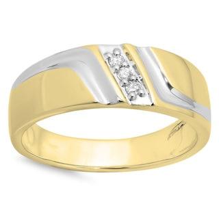 10k White Gold Men's 1/8ct TDW Round Diamond 3-stone Wedding Band (H-I ,I1-12)