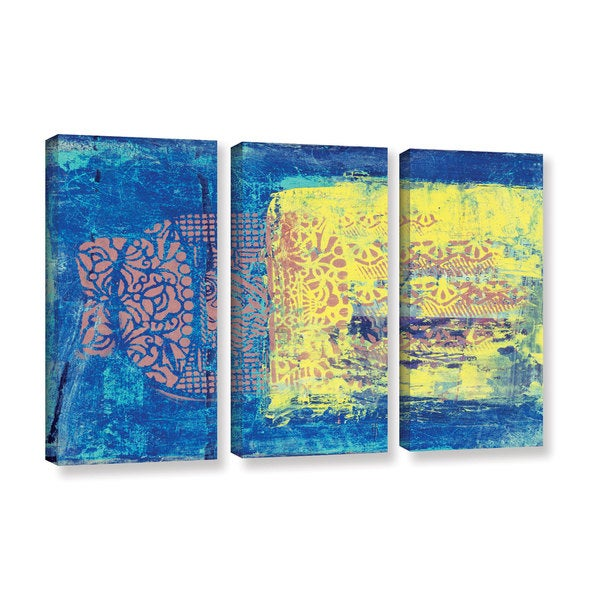 ArtWall Elena Ray ' Blue With Stencils 3 Piece ' Gallery-Wrapped Canvas Set 15765774