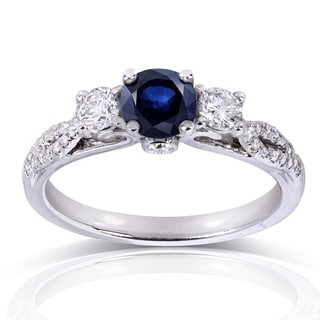 Annello 14k White Gold Round-cut Sapphire and 1/3ct TDW Diamond Three Stone Engagement Ring (H-I, I1-I2)