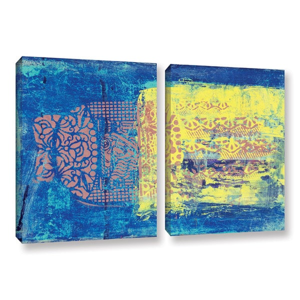 ArtWall Elena Ray ' Blue With Stencils 2 Piece ' Gallery-Wrapped Canvas Set 15765837