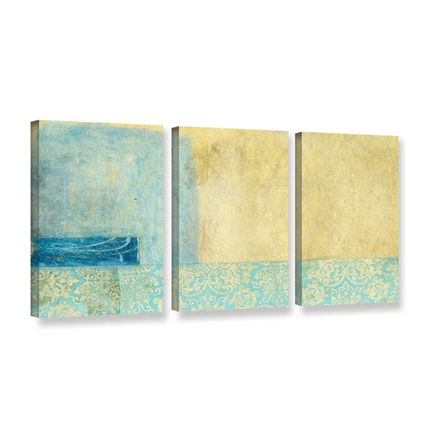 ArtWall Elena Ray ' Gold And Blue Banner 3 Piece ' Gallery-Wrapped Canvas Set 15765842