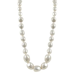 Sterling Silver Graduated Nugget White Shell Pearl Strand Necklace