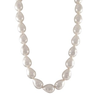 Sterling Silver White Baroque Shell Pearl Strand Necklace