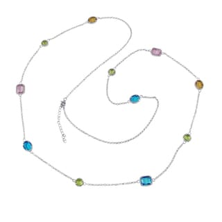 Rhodium Finish Multi Color Sliced Glass Geometric Necklace