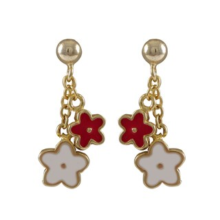 Gold Finish Children's Multi-color Enamel Flower Dangle Earrings