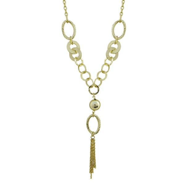 Gold Finish Hammered Circles Tassel Necklace