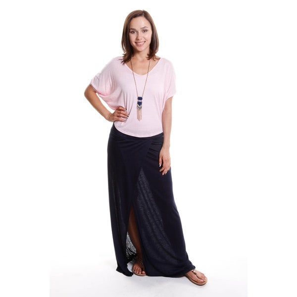 Hadari Women's V-Neck Top with Maxi Skirt Outfit (2 pic set) 15766176