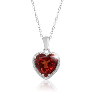Sterling Silver 3 3/4ct Created Padparadscha Diamond Accent Heart Necklace
