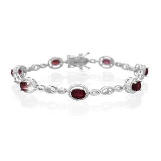 Platinum Overlay 4 1/2ct Oval-cut Ruby Diamond Accent Halo Bracelet