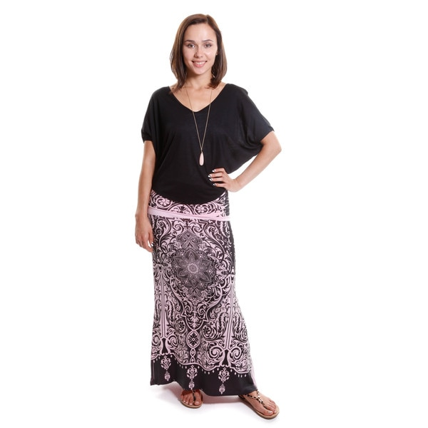 Hadari Women's V-Neck Top with Decorative Print Maxi Skirt ( Set Of Two ) 15766300