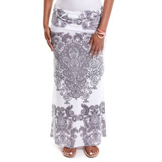 Hadari Women's Contemporary Paisley Print Foldover Maxi Skirt