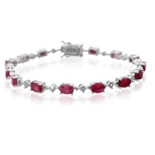 Platinum Overlay 9 3/4ct Carat Ruby Diamond Accent Bracelet