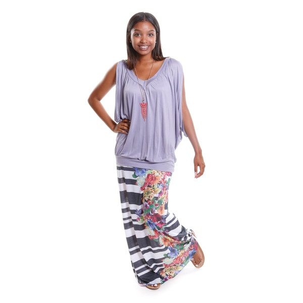 Hadari Women's V-Neck Dolman Top with Striped Floral Maxi Skirt ( Set Of Two)