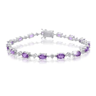 Platinum Overlay 6 3/4ct Amethyst and Diamond Accent Bracelet