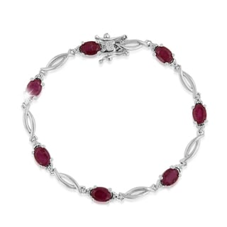 Platinum Overlay 7ct Ruby and Diamond Accent Bracelet
