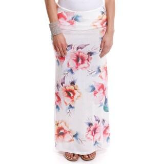 Hadari Women's Contemporary Floral Print Foldover Maxi Skirt