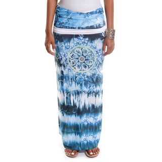 Hadari Women's Contemporary Mandala Print Maxi Skirt