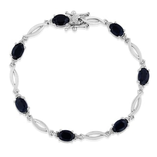 Platinum Overlay 7ct Sapphire and Diamond Accent Bracelet